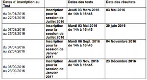 dates d'inscription au test DAEFLE
